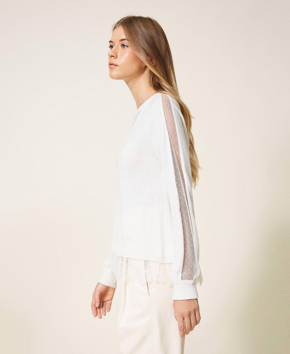 Maglia in misto lana con pizzo Bianco Neve Donna 202TT3133-02