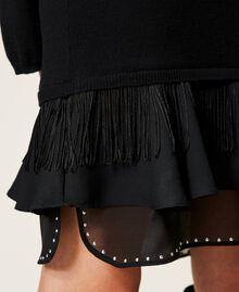 Robe en laine mélangée avec clous et franges Noir Femme 212TP3191-06