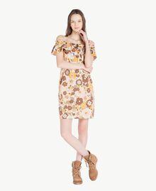 "Printed dress Flat Flower Print ""Rope"" Beige Woman SS82PD-01"
