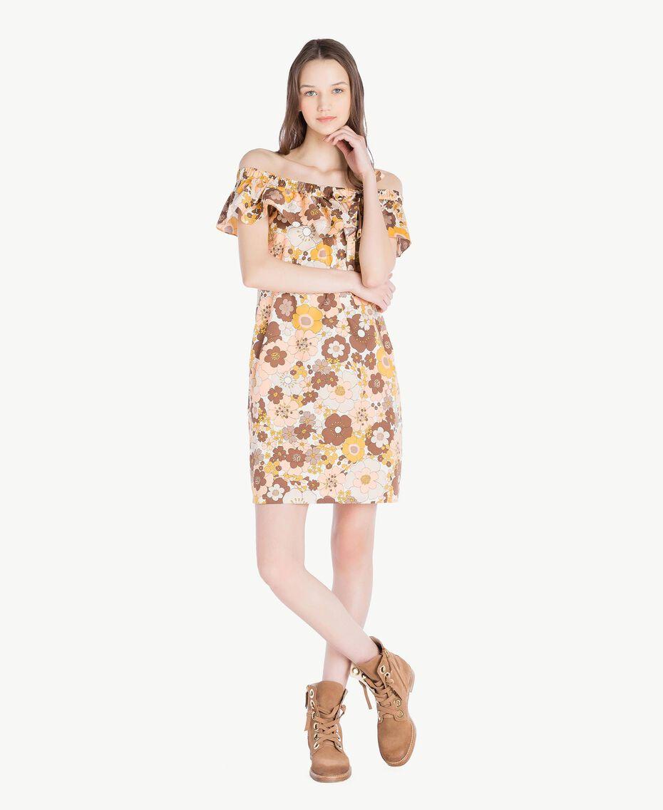 Kleid mit Print Flacher Blumenprint Seilbeige Frau SS82PD-01