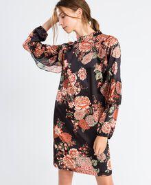 Robe en twill avec imprimé floral Imprimé Noir Fleur Femme LA8KSS-0S