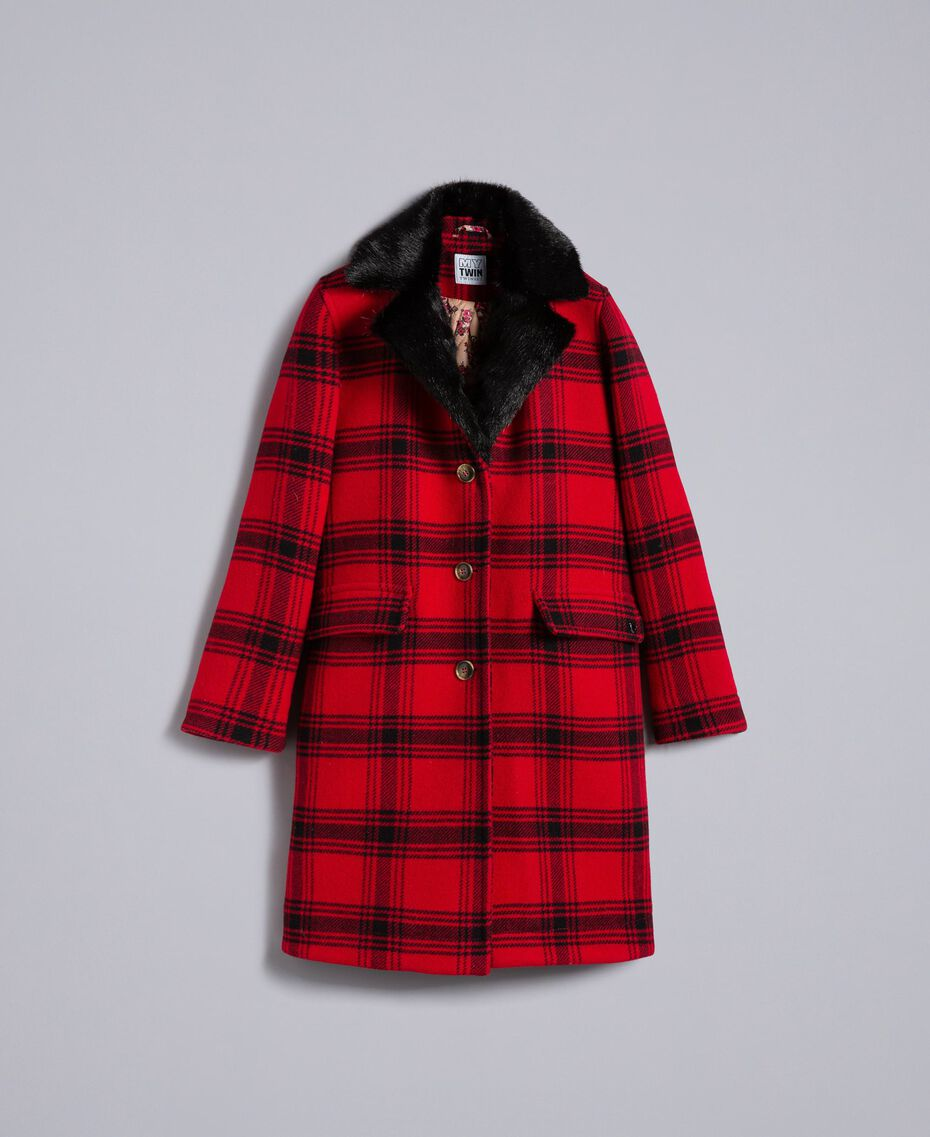 "Checked coat Bicolour ""Poppy"" Red / Black Tartan Woman YA82DQ-0S"