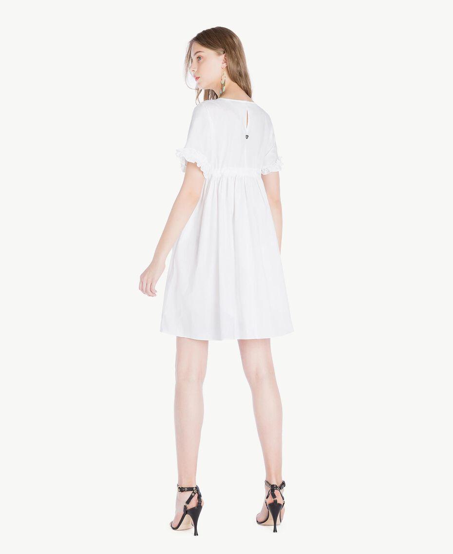 Kleid aus Popeline Weiß Frau TS821A-03