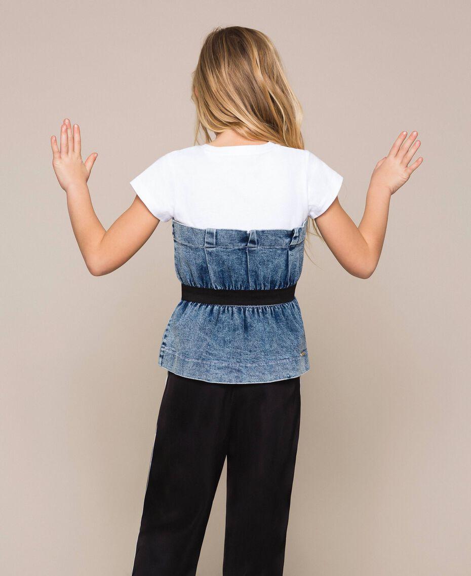 "Top in jeans con arricciatura Bicolor Bianco ""Papers"" / Denim Medio Bambina 201GJ2312-03"