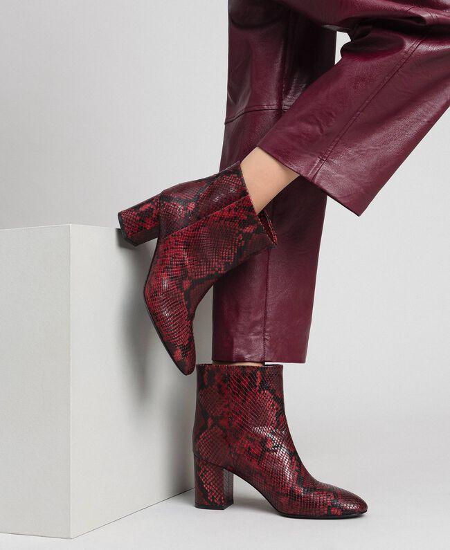 Stiefelette aus Leder mit Animal Dessin Frau, Rot | TWINSET
