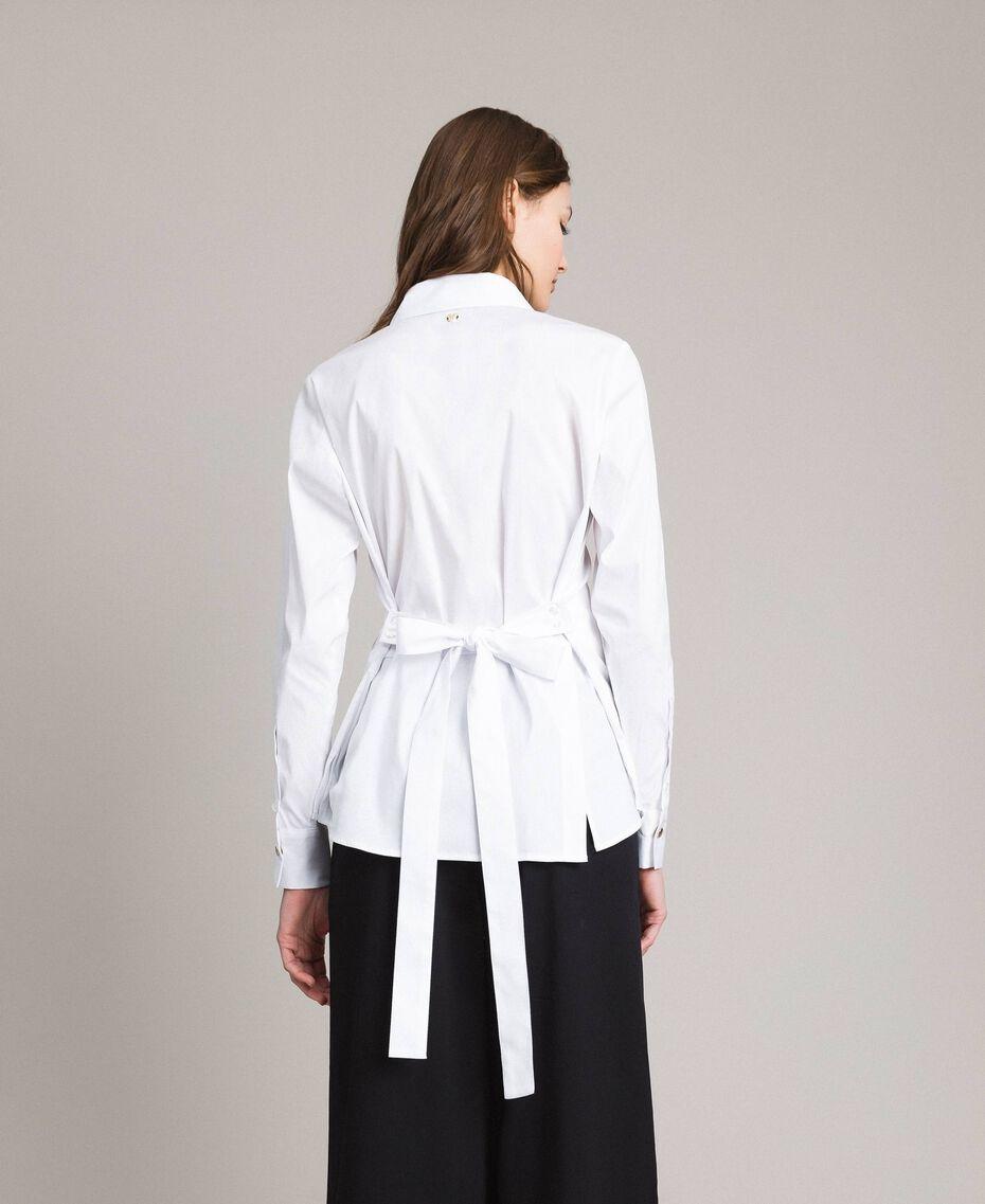 Popeline-Hemd mit Schleifen White Sahne Frau 191MP2216-03