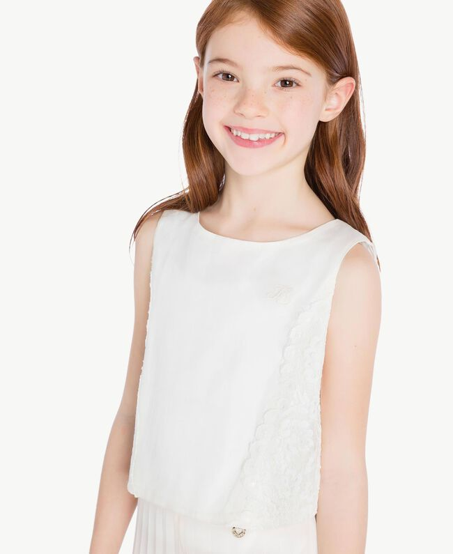 Duchess satin top Pale Cream Child GS8LDB-04