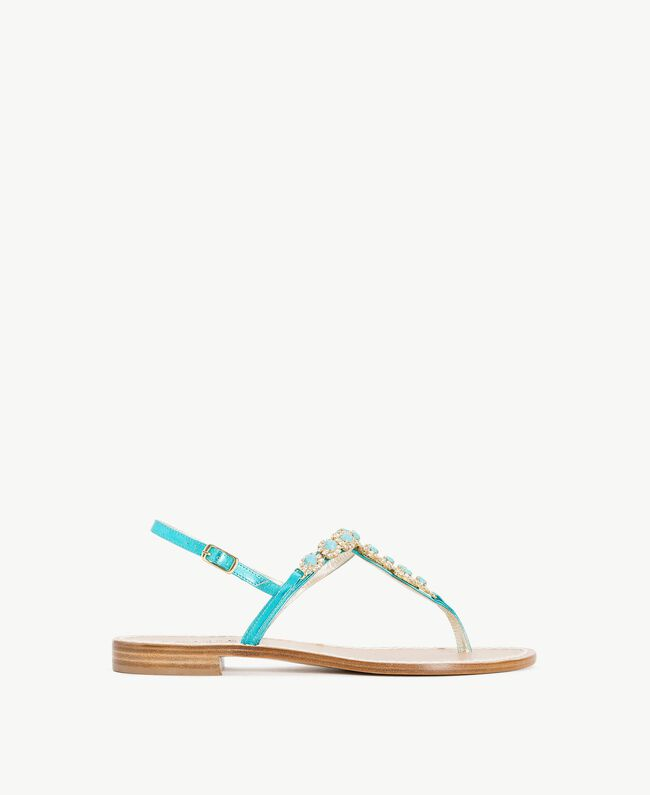TWINSET Rhinestones sandals Turquoise Woman CS8TEC-01