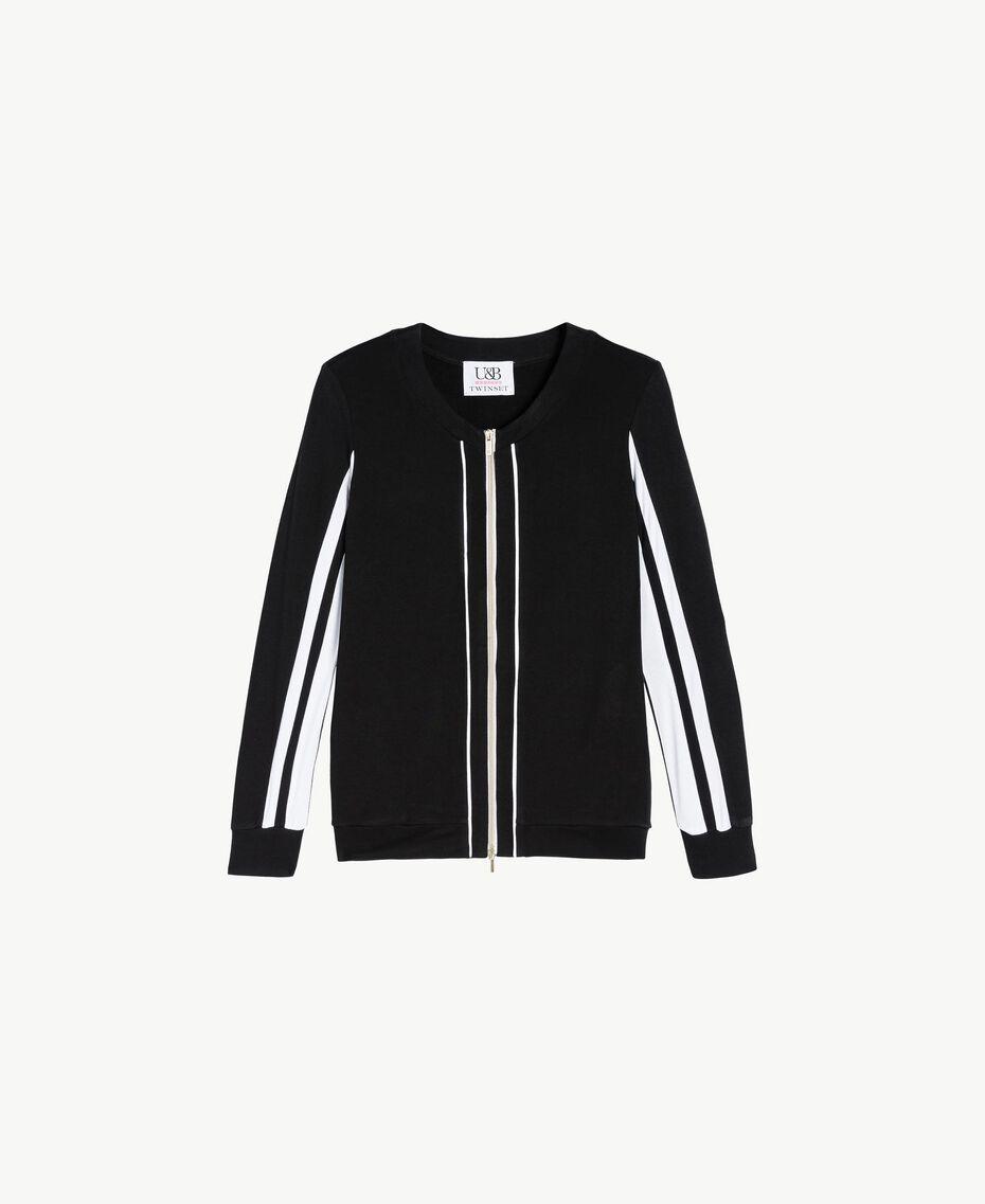 Sweat-shirt bicolore Noir Femme LS87GG-01