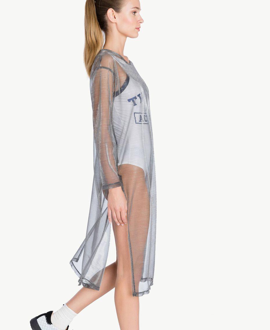 Kleid mit Beschichtung Lamé-Grau IA79BB-03