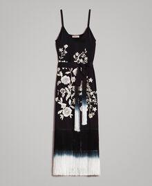 Robe longue avec broderies florales et franges Noir Femme 191TT2134-0S