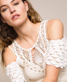 Embroidered crochet sheath dress with fringes White Snow Woman 201TT3151-04