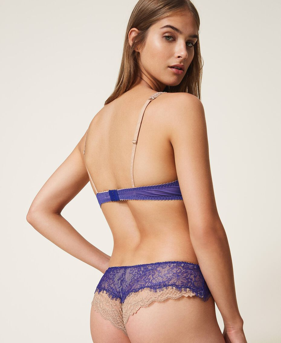 """Two-tone lace Brazilian briefs Two-tone Violet Blue / """"Amber Dust"""" Brown Woman 202LL6A77-03"""
