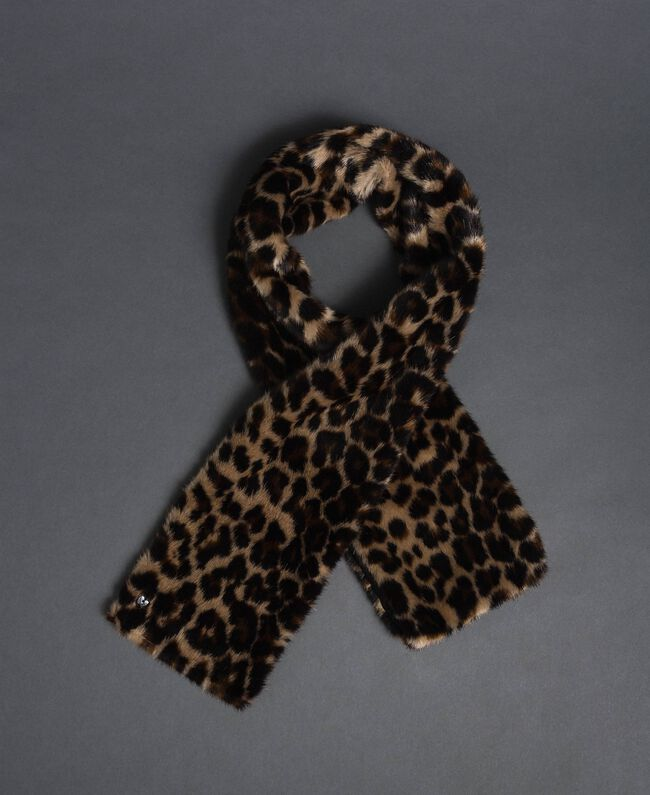 Animal print faux fur stole Animal print Woman 192MA4360-01