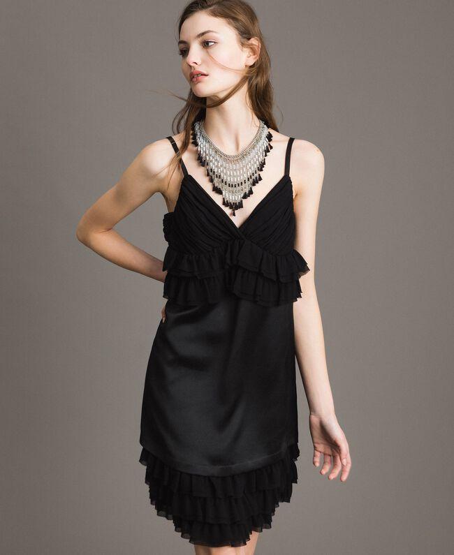 Satin dress with georgette flounces Black Woman 191ST2190-01