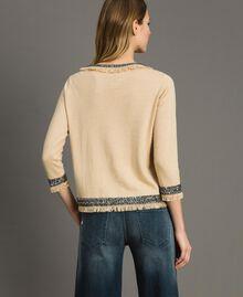"""Pullover aus Leinenmischung mit Stickereien """"Marzipan"""" Beige Frau 191TT3052-03"""