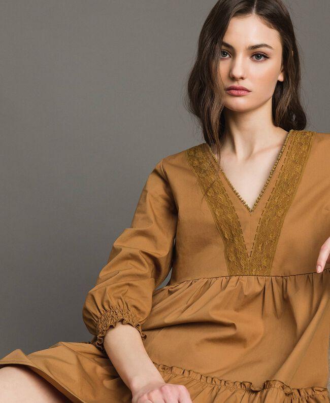 """Robe en popeline avec insertions en dentelle Beige """"Savane"""" Femme 191ST2046-04"""