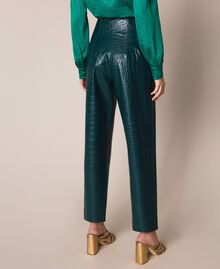 "Crocodile print faux leather trousers ""Forest"" Green Woman 201TP2361-03"