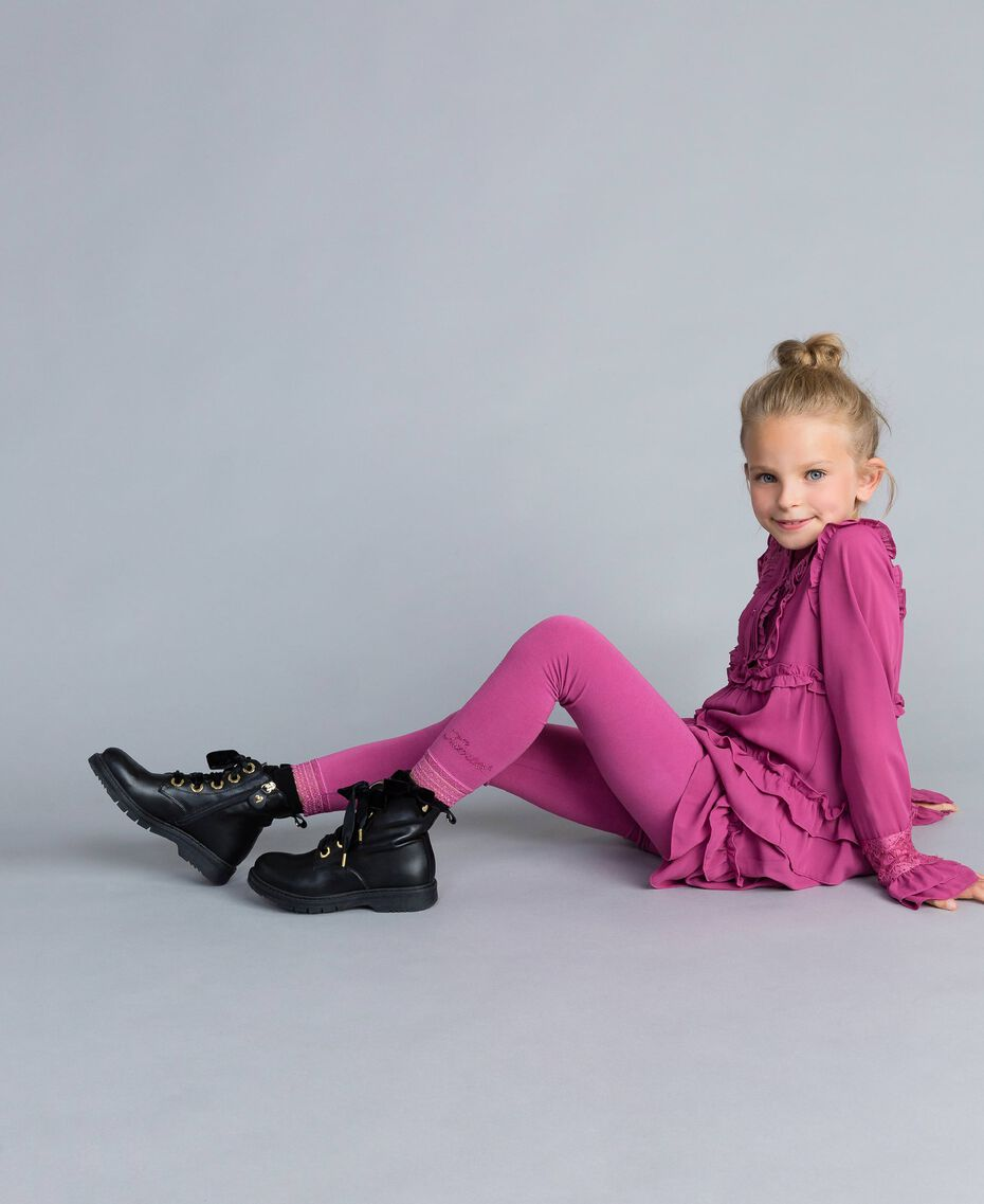 Jersey leggings with lace Pink Bouganville Child GCN2F4-01