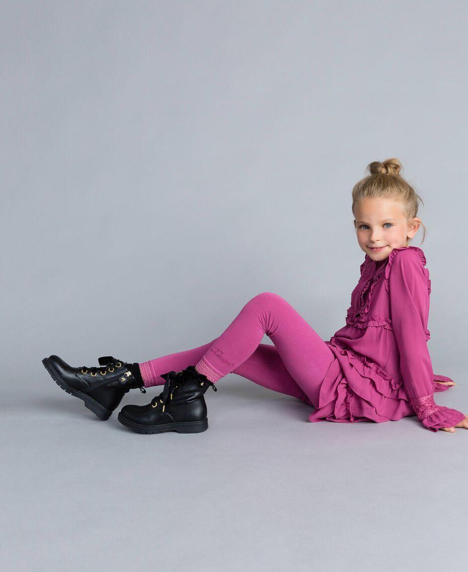 Leggings aus Jersey mit Spitze Schwarz Kind GCN2F4-01