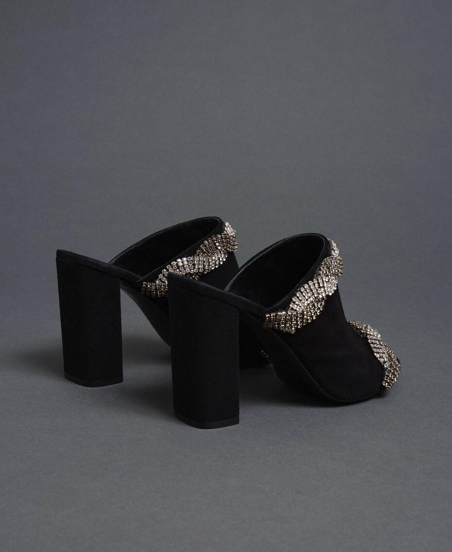 Mules en cuir velours avec strass Noir Femme 192TCP12A-05