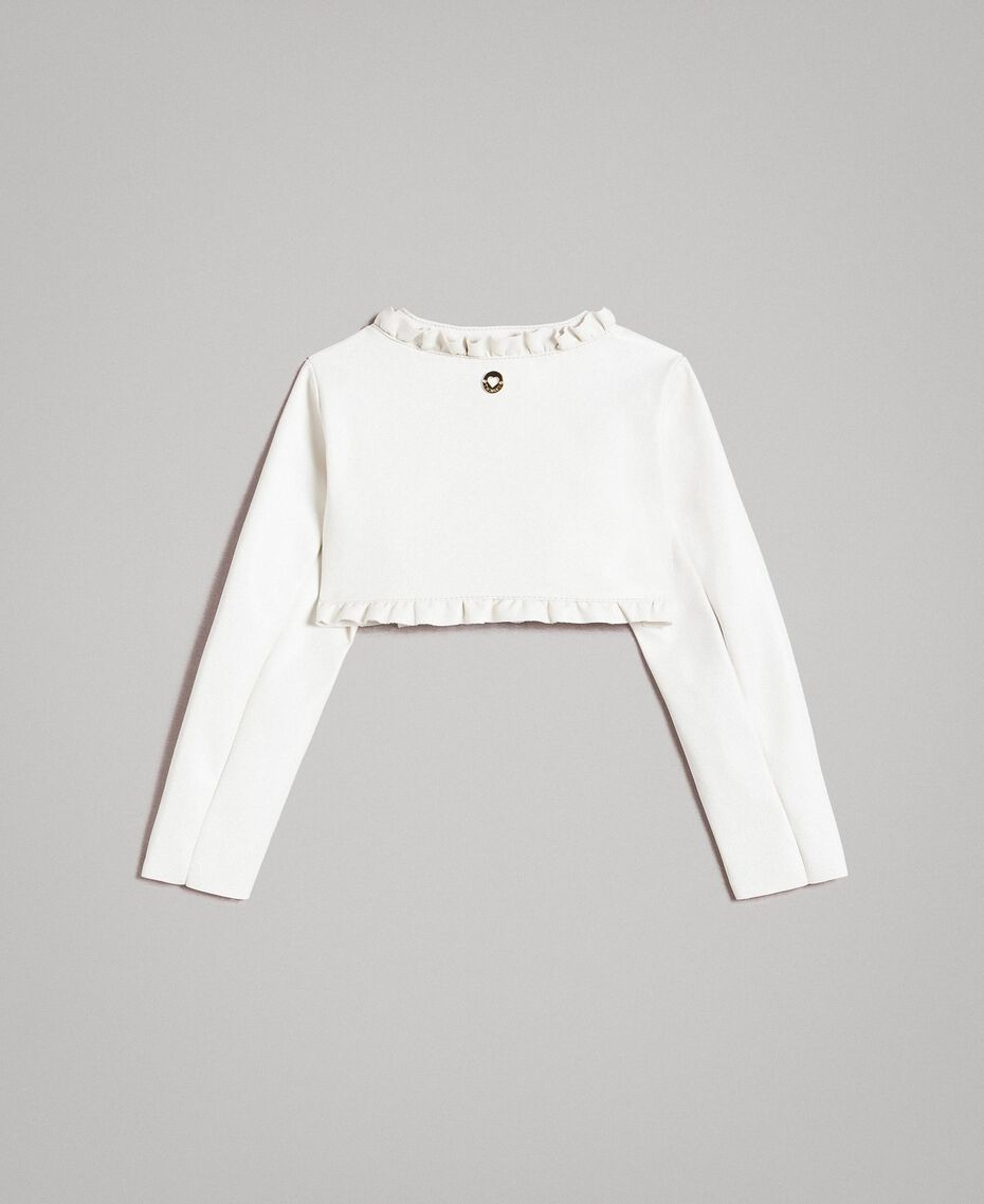 Cropped faux leather jacket with ruches Pale Cream Child 191GB2500-0S