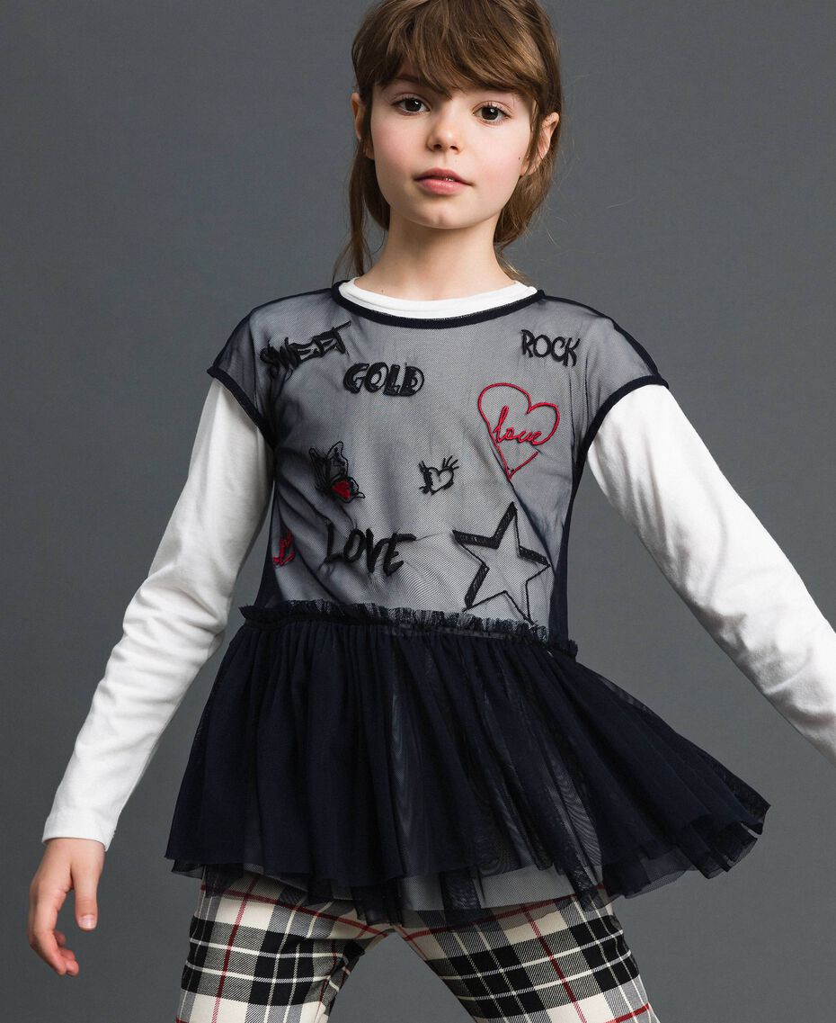 Tulle blouse with embroideries and T-shirt White / Black Child 192GJ2434-01