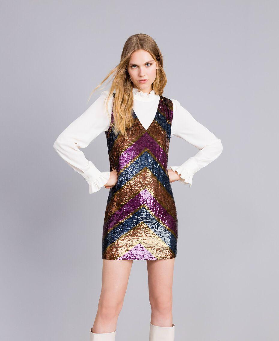 Robe en full paillettes Multicolore Rayure Paillettes Femme TA82DE-02