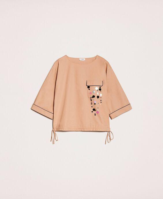 Bluse aus Popeline mit aufgestickten Pailletten