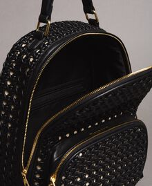 Braided faux leather backpack Black Woman 191TO8010-05