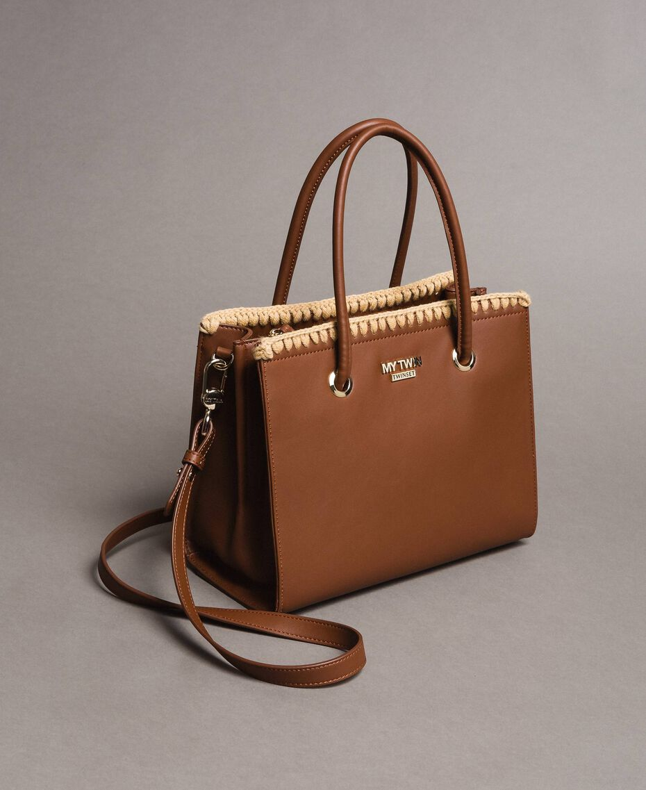 "Faux leather shopping bag ""Earth"" Brown Woman 191MO8091-03"