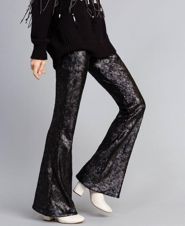 Pantaloni in full paillettes Nero Donna QA8TEF-04