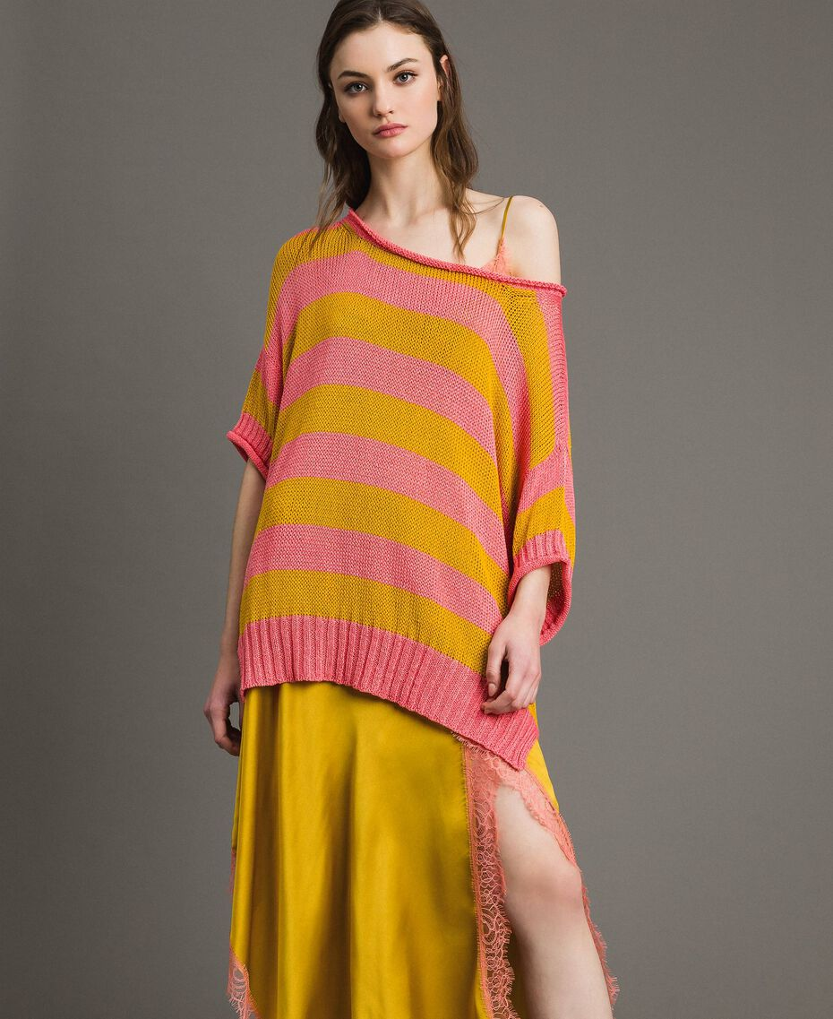 """Maxi jumper with slits """"Coral Geranium"""" Red / """"Honey Gold"""" Striping Woman 191TT3150-02"""
