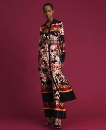 Langes Hemdblusenkleid mit floralem Foulardprint Foulardprint Frau 192TP2604-01