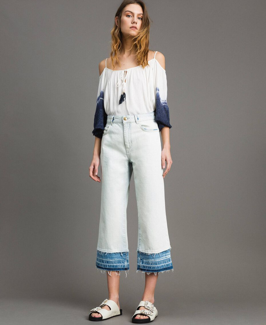 Cotton denim wide leg jeans Denim Blue Woman 191MT2432-01