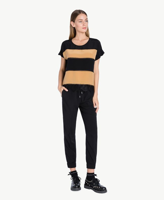 Bluse aus Seide Honigbeige / Schwarz PA72FN-04