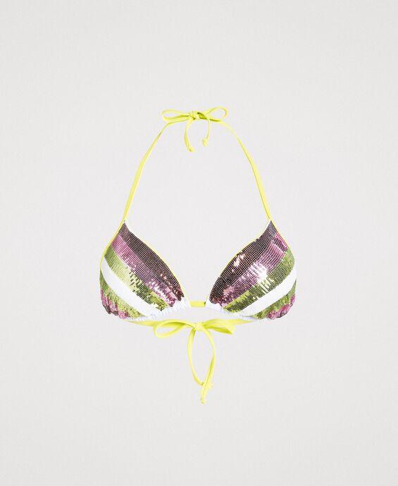 Haut de bikini triangle à rayures orné de sequins