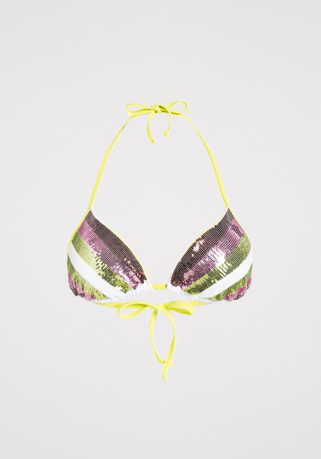 Triangle bikini top with stripes and sequins