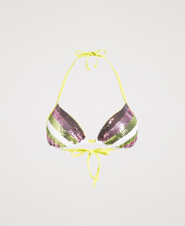 """Triangle bikini top with stripes and sequins """"Bronze"""" Brown / """"Lemon Juice"""" Yellow Multicolour Striping Woman 191LBMA33-01"""