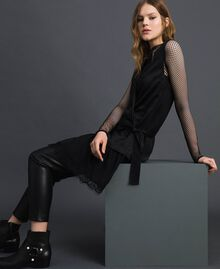 Bow dress with lace flounce Black Woman 192MP2351-04