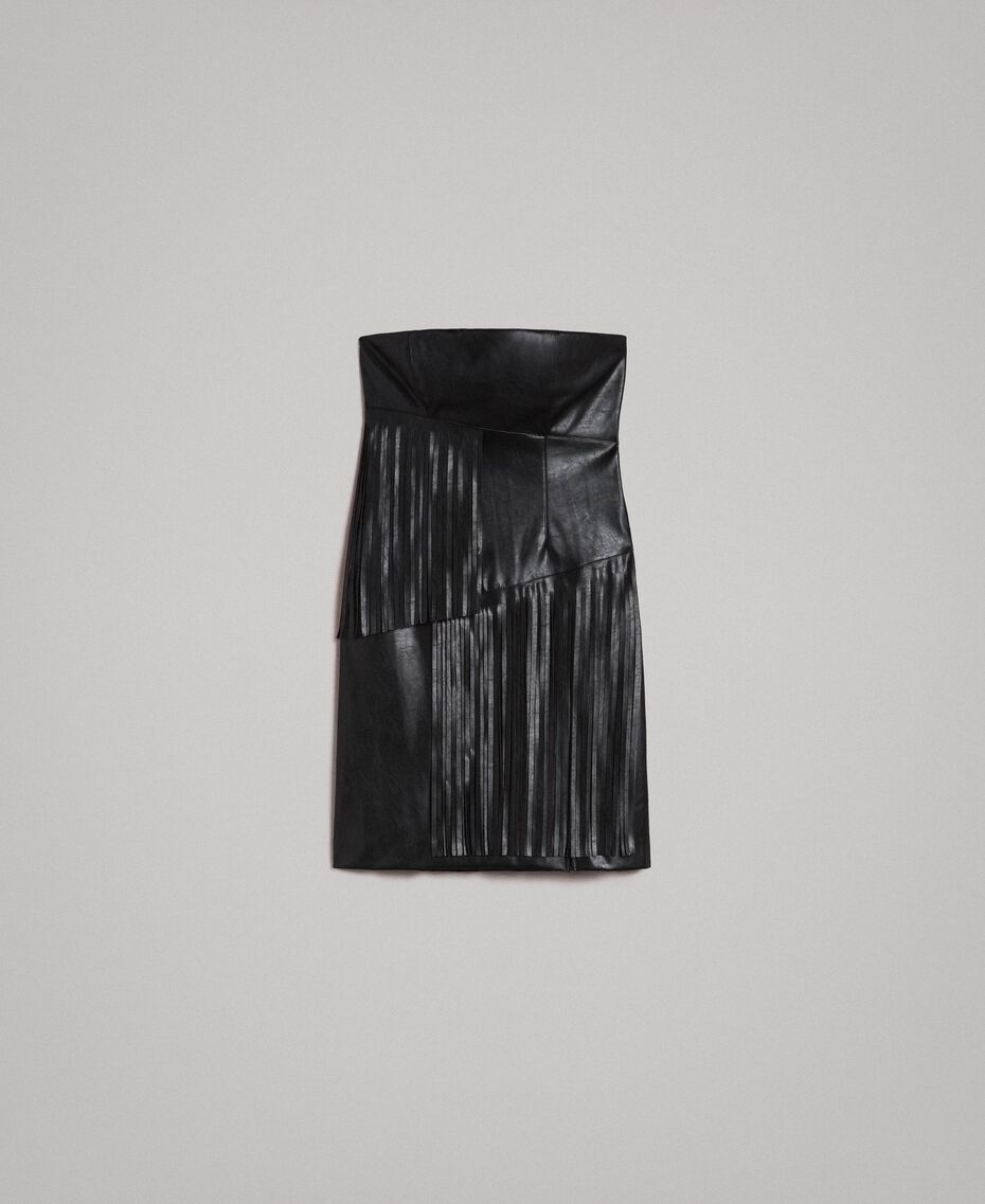 Faux leather bustier dress with fringes Black Woman 191TT2320-0S