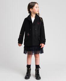 Пальто из сукна с вышивками Черный Pебенок 192GJ2102-05