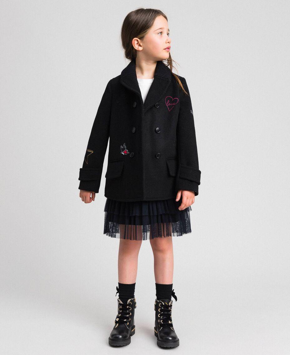 Cappotto in panno con ricami Nero Bambina 192GJ2102-05