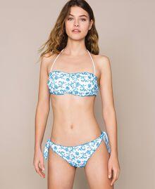 Tanga de bain en broderie anglaise Bicolore Bleu «Bay» / Blanc Optique Femme 201LMML88-02
