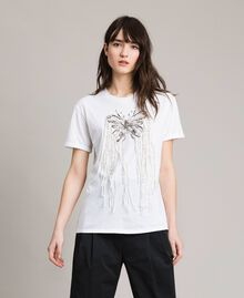 Butterfly embroidery and fringe T-shirt White Woman 191TP2600-02