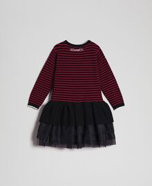 Striped dress with tulle flounces Striped Jacquard / Black Child 192GB3251-0S
