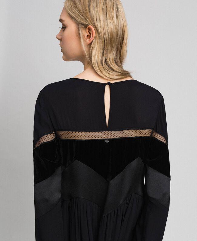 Robe avec détails en velours Noir Femme 192TT2281-04