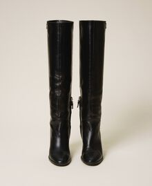 Leather high boots Black Woman 202TCT084-04
