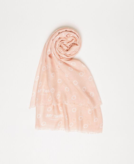 Scarf with heart and loop print