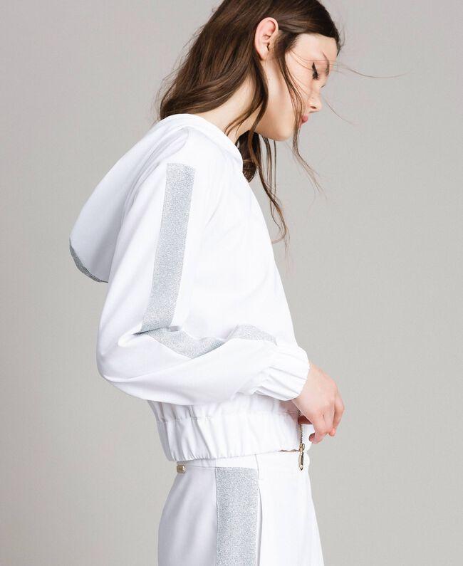 Sweatshirt with hood and zip White Woman 191LL25CC-03
